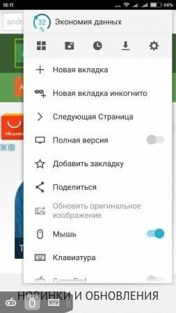 Puffin Browser Pro опции