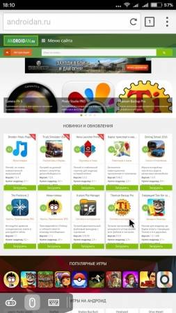 Puffin Browser Pro главная страница